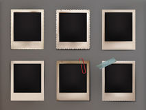Illustration vintage photo frames with shadow. Set illustrations vintage photo frames with shadow, adhered to the adhesive tape, attached clip. Photo Gallery Stock Photography