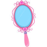 Illustration of Vintage Pink Hand Mirror Stock Photos