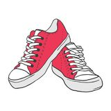 Illustrations. Illustration of vintage red shoes on white background vector illustration