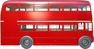 Double Decker London Bus Isolated, Red Royalty Free Stock Images