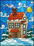 Stained glass illustration  winter landscape, village house and fir-trees on a background of snow, sky and sun. Illustration in vintage style winter landscape Stock Photo