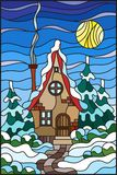 Stained glass illustration  winter landscape, village house and fir-trees on a background of snow, sky and sun. Illustration in vintage style winter landscape Stock Images