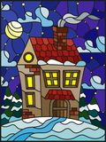 Stained glass illustration  winter landscape, village house and fir-trees on a background of snow, starry sky and moon. Illustration in vintage style winter Royalty Free Stock Photography