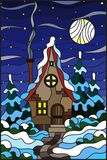 Stained glass illustration  winter landscape, village house and fir-trees on a background of snow, starry sky and moon. Illustration in vintage style winter Stock Image