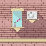 Illustration with a vintage window and air-conditioner on the brick wall Royalty Free Stock Photos