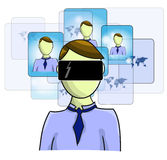 Illustration of virtual reality person Stock Photo