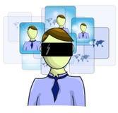 Illustration of virtual reality person Stock Photo