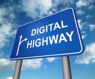 Illustration virtuelle de la chaussée 3d de signe de route de Digital illustration stock