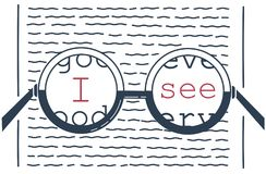 Illustration of vision recovery inscription. Concept of vision recovery, inscription i see, in the form of a glasses and a test for reading. Icon in the linear Stock Images