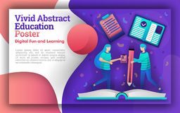Illustration of vivid abstracts with the theme of education. the student who was writing on a giant book. can be for posters and w vector illustration