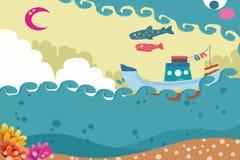 Illustration : Vol de bateau, de mer et de poissons en ciel Photo stock