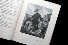 Illustration vom sowjetischen Buch für Kinder mit Bildern von Lenin und von Stalin Stockbild