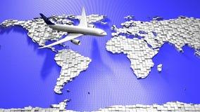 Flugzeug und Weltkarte stockfoto