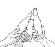 Illustration von angehobenen Bierflaschen in den Weinlesefarben beifall vektor abbildung