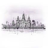 Illustration von Angkor Wat Temple Complex Lizenzfreie Stockfotos
