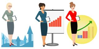 Illustration von Büroangestellten auf einem weißen Hintergrund Lizenzfreies Stockbild