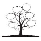 Illustration von Baum-und Comics-Blasen Lizenzfreie Stockfotografie