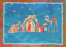 Illustration von Christian Christmas Nativity-Szene mit den drei weisen Männern Lizenzfreies Stockbild