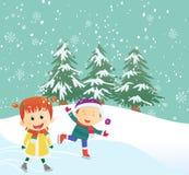 Illustration von den glücklichen Kindern, die draußen Schlittschuh laufen vektor abbildung