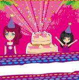 Illustration von den Kindern, die eine Geburtstagsfeier feiern Lizenzfreies Stockfoto