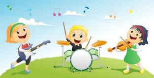 Illustration von den Kindern, die Musikinstrument spielen lizenzfreie abbildung