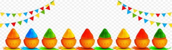 Illustration von den tönernen Töpfen voll von den trockenen Farben verziert auf transparentem Hintergrund lizenzfreie abbildung
