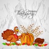 Illustration von der Türkei, von Kürbis und von Weizen für Danksagung Stockbilder