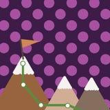 Illustration von drei bunten Bergen mit Spur und von weißer Snowy-Spitze mit Flagge auf einer Spitze Kreativer Hintergrund stock abbildung