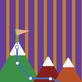 Illustration von drei bunten Bergen mit Spur und von weißer Snowy-Spitze mit Flagge auf einer Spitze Kreativer Hintergrund lizenzfreie abbildung