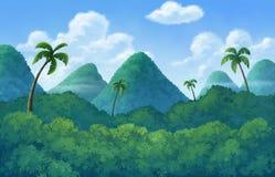 Illustration von einem im Freien zum Haben von Hügelbäume Stockbilder