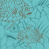Illustration von exotischen Kiefernkegelfischen Stockfoto