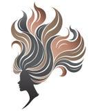 Illustration von Frauen silhouettieren Ikone auf weißem Hintergrund Stockbild
