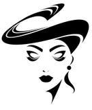 Illustration von Frauen silhouettieren Ikone auf weißem Hintergrund Lizenzfreie Stockbilder