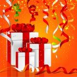 Illustration von Geschenkboxen mit buntem hängendem Parteidampfer stock abbildung