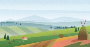 Illustration von grünen Hügeln und von Wiese mit Bauernhaus gegen blaue Berge im Dunst Morgennebelweidelandschaft mit Stockfotografie