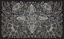 Illustration von Hand gezeichnetem Weinlesemit BlumenRetro- Lizenzfreies Stockbild