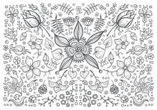 Illustration von Hand gezeichnetem Weinlesemit BlumenRetro- Lizenzfreie Stockfotos