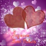 Illustration von Herzen auf einem roten Hintergrund Stockbilder