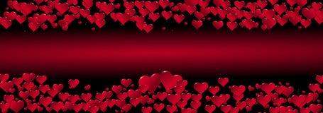Illustration von Herzen auf einem roten Hintergrund zentriert stock abbildung
