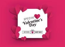 Illustration von Herzen der rosa Farbe Design für Verkaufsförderungen Vektor Abbildung