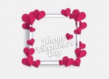 Illustration von Herzen der rosa Farbe Herzen mit transparentem Ba Stock Abbildung