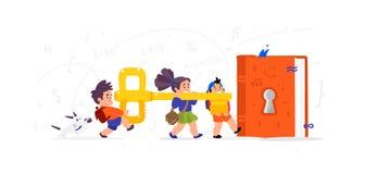 Illustration von Karikaturkindern Flache Illustration des Vektors Kinder öffnen ein Buch, Wissen Kinder \ 's-Bibliothek Der Schlü stock abbildung