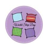 Illustration von Kissen in den verschiedenen Farben mit verschiedenen Mustern in der flachen Art Stockfoto