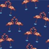 Illustration von Liebesrosaflamingos im Wasser Lizenzfreies Stockfoto