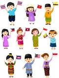 Illustration von lokalisierten gesetzten Jungen und von Mädchen von ASEAN-Ländern Stockfoto