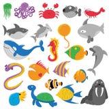 Illustration von Meerestieren lizenzfreie abbildung