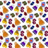 Illustration von mehrfarbigen Hüten und von Handschuhen Schöne Winterkleidung Stockbilder