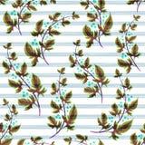 Illustration von mit Blumennahtlosem Blätter mit schwarzen Streifen auf einem weißen Hintergrund Vektor stock abbildung