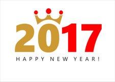 Illustration von 2017 mit einer goldenen Krone Lizenzfreie Stockfotos