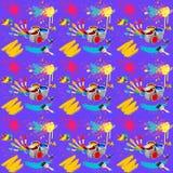 Illustration von nahtlosem mit dem Bild der Bürsten mit Farben und Bürstenanschlägen auf einem purpurroten Hintergrund, abstrakte lizenzfreie abbildung